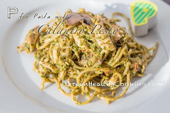 P for Pasta with Cilantro Pesto