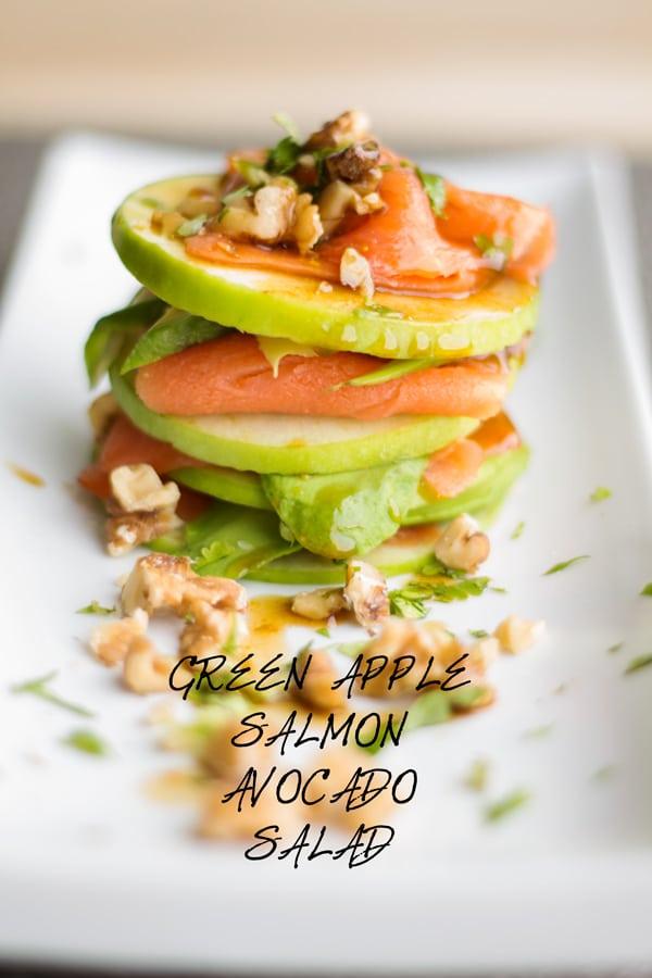 Green Apple Salmon Avocado Salad on a long white plate.