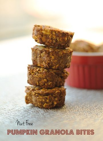Nut Free Pumpkin Granola Bites stacked.