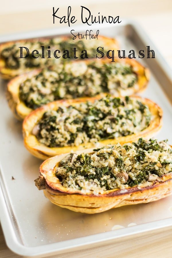 Vegetarian Stuffed Delicata Squash on a baking tray.