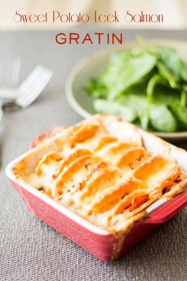Sweet Potato Leek Salmon Gratin