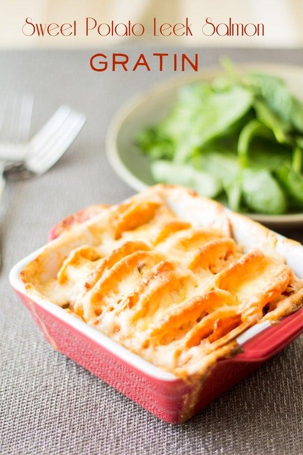 Sweet Potato Leek Salmon Gratin in a red baking dish.
