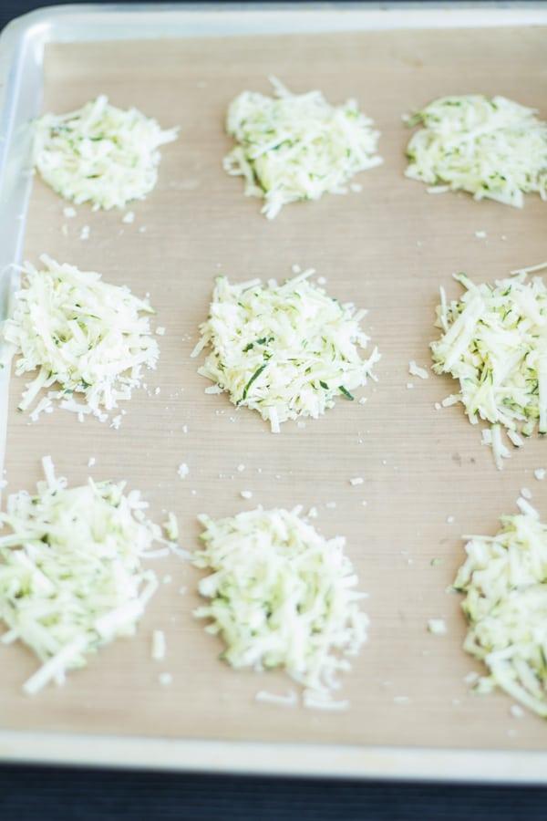 Parmesan Gruyere Zucchini Crisps Prep