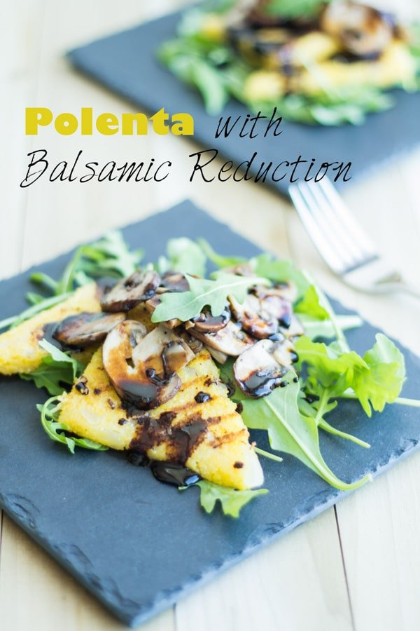 Polenta with Balsamic Reduction on a blue squared plate.