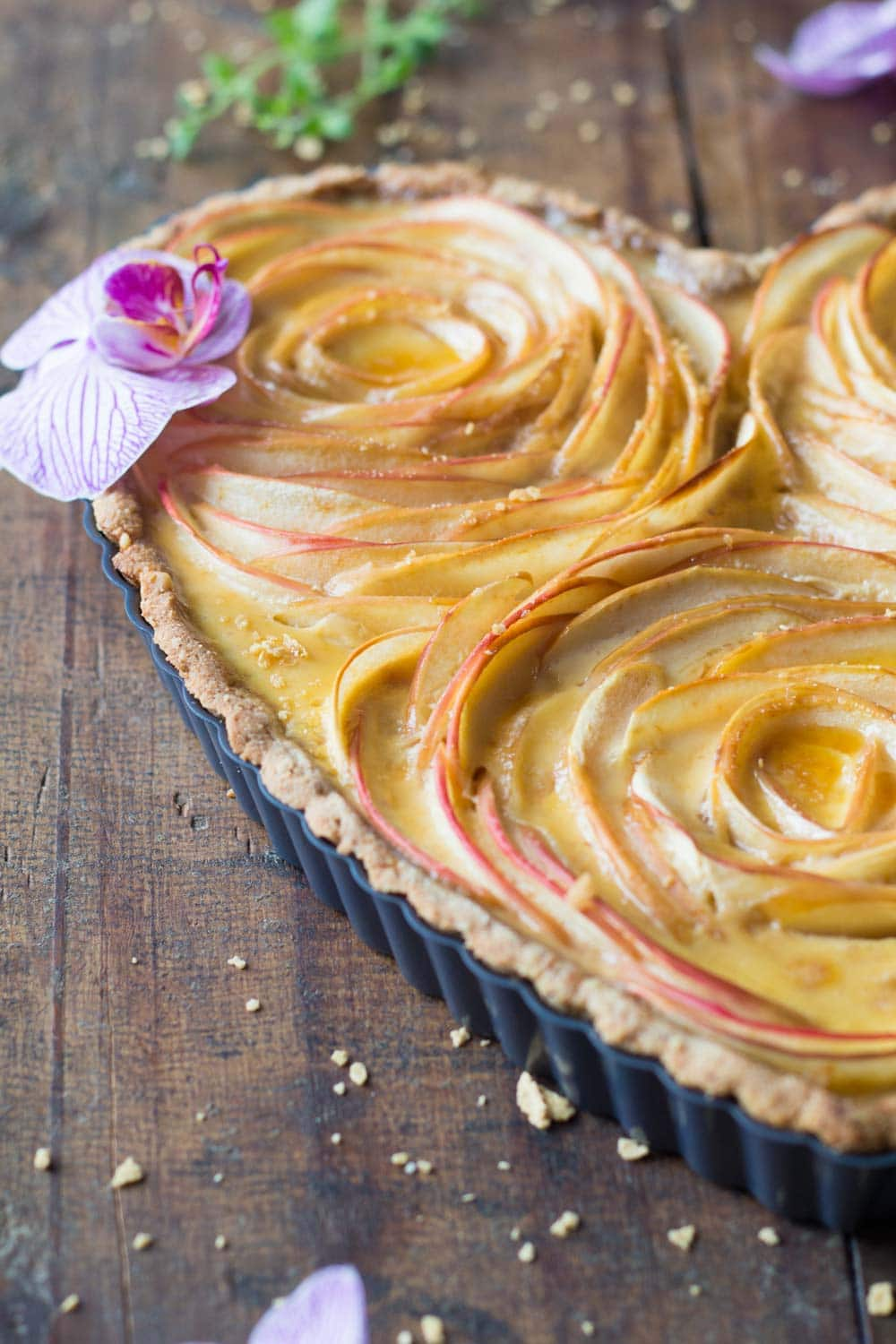 Detail of heart shaped rose apple tart.