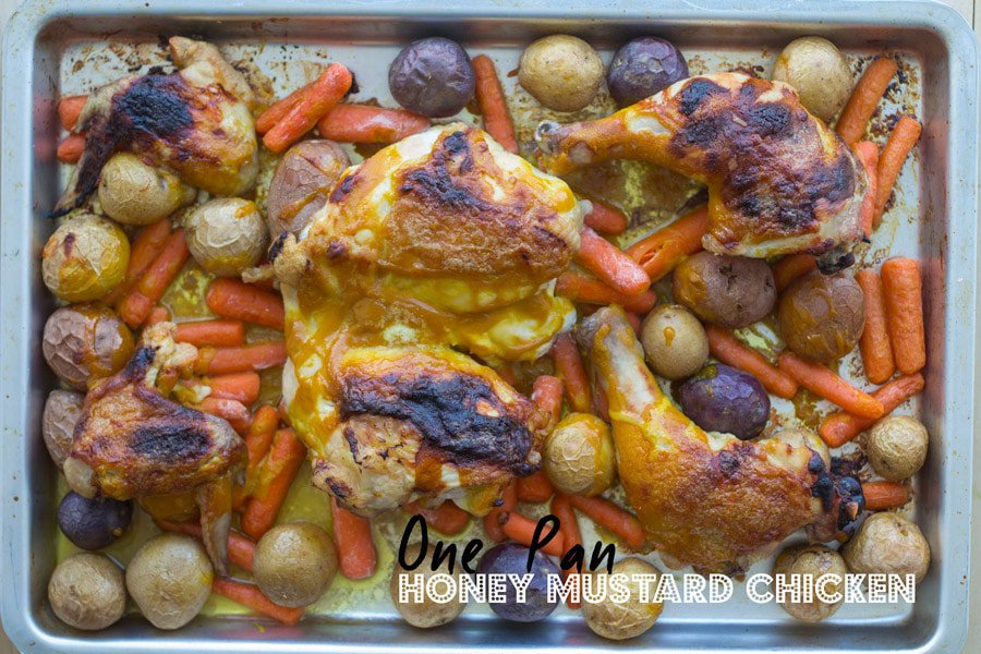 Honey Mustard Chicken on a baking pan with text overlay.