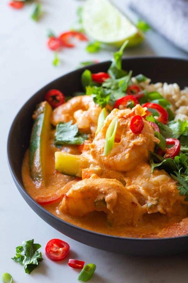 Closeup of texture of Coconut Shrimp Curry.