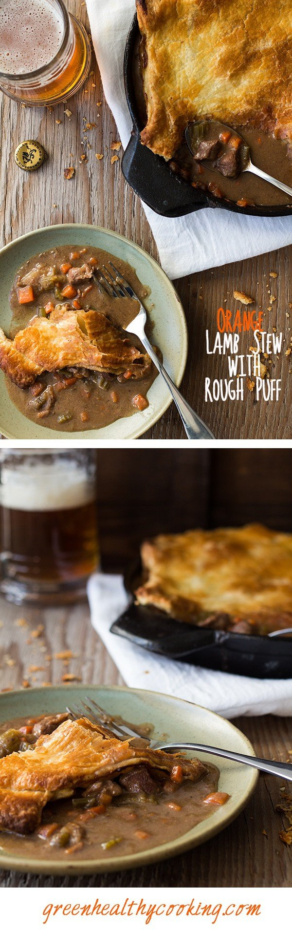 Collage of Orange Lamb Stew with Rough Puff images with text overlay for Pinterest.