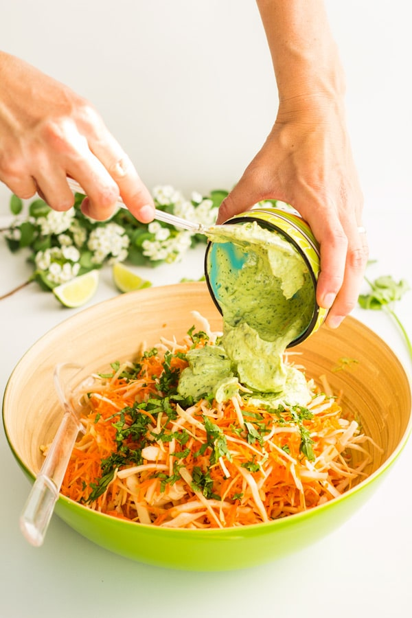 Cabbage Carrot Salad with Cilantro Lime Mayonnaise 2