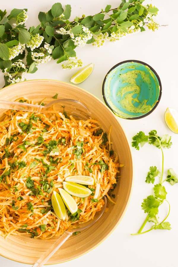 Cabbage Carrot Salad with Cilantro Lime Mayonnaise 4