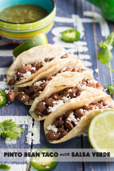 Pinto Bean Tacos with Salsa Verde