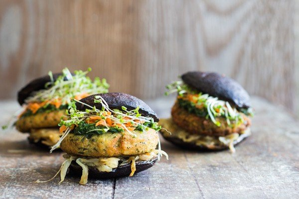 A Portobello Burger recipe a.k.a. THE most perfect vegan, gluten-free, grain-free, healthy burger on.the.freakin.planet! (chickpea flour patties)