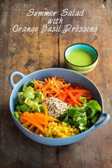 Summer Salad with Orange Basil Dressing