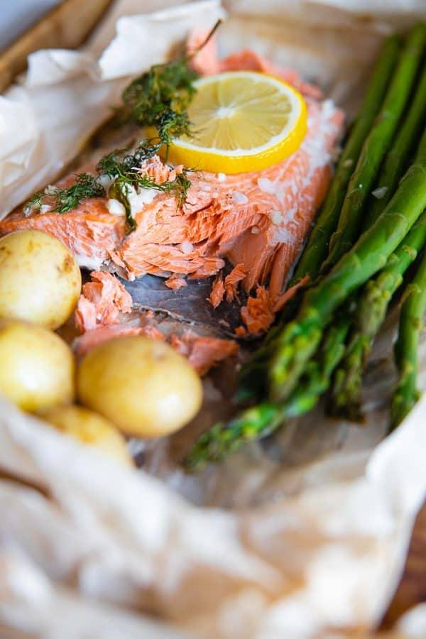 Closeup texture of baked salmon.