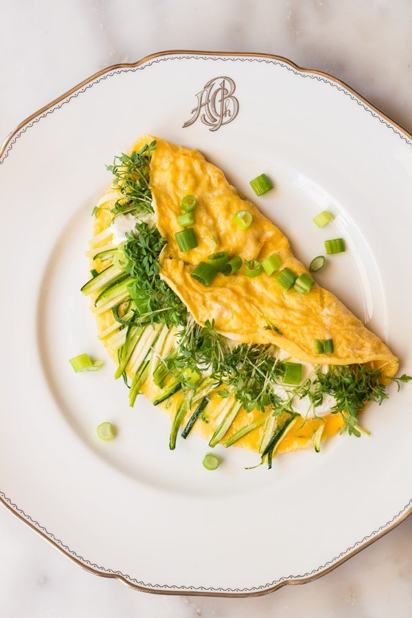 Goat Cheese Omelette on a plate.