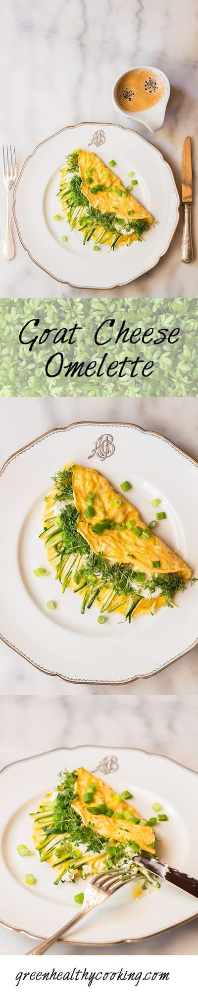 Collage of Goat Cheese Omelette images with text overlay for Pinterest.