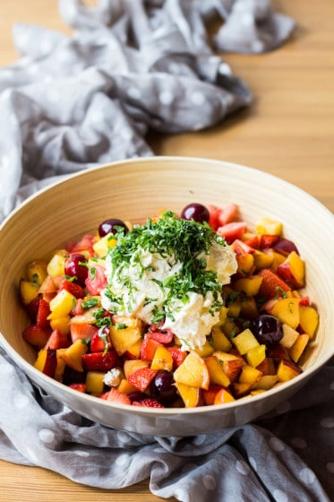 The best Summer Fruit Salad with Creme Double you will ever have tasted. With mainly stone fruits and NO sweetener added. Basil is the secret ingredient.