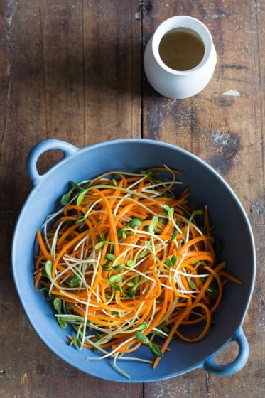 A recipe for a gorgeous-looking Sunflower Carrot Salad with sunflower seed sprouts and a sunflower seed butter and sunflower seed oil dressing.