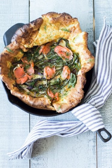 Spring Onion and Smoked Salmon Dutch Baby a quick and easy to prepare fancy breakfast, brunch, lunch or dinner recipe for kings and queens. Scrumptious!