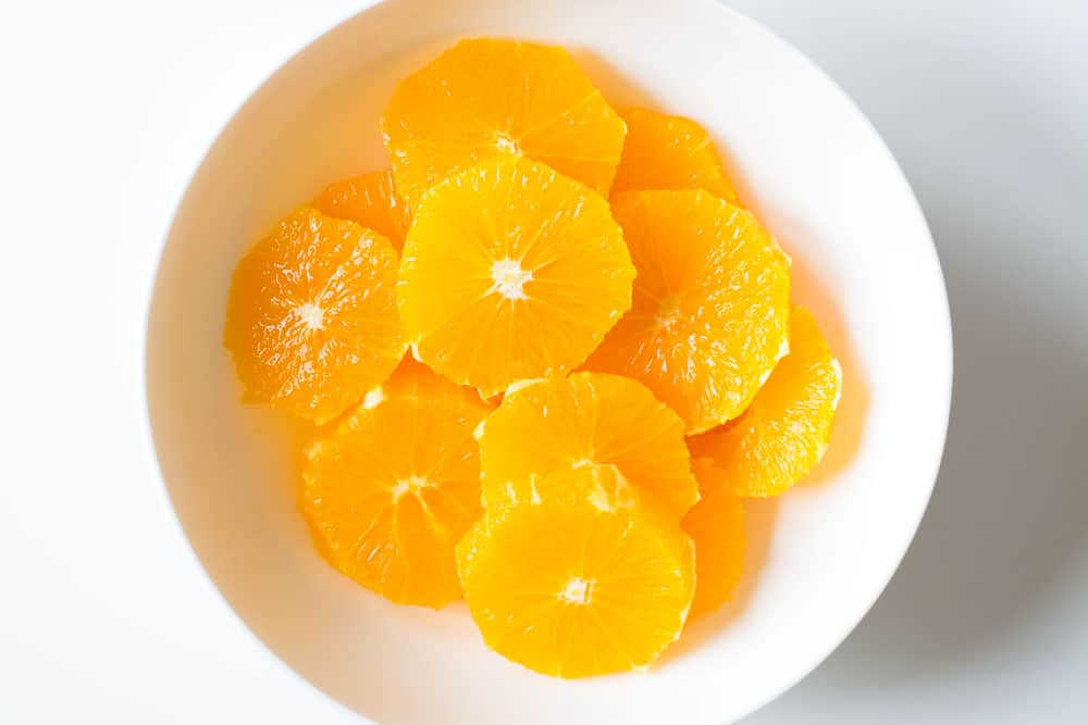 peeled and sliced oranges for Winter Salad.