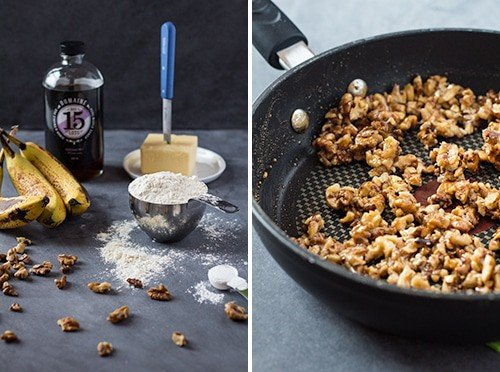 Left: ingredients for Banana Bread with Maple Candied Walnuts. Right: chopped walnuts in a frying pan.