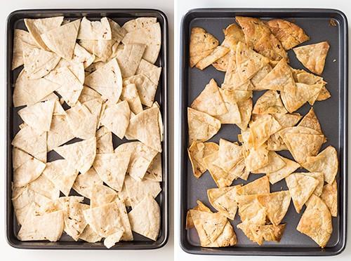 Left: raw tortilla triangles on a baking sheet. Right: baked tortilla triangles on a baking sheet.