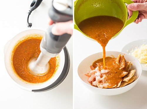 Left: red salsa mixed with a hand blender. Right: red salsa being poured over a bowl with shrimps and baked tortillas.