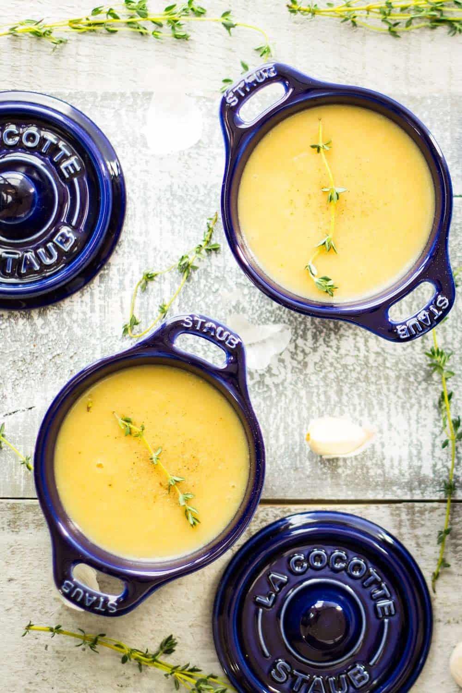 Roasted Garlic Potato Leek Soup