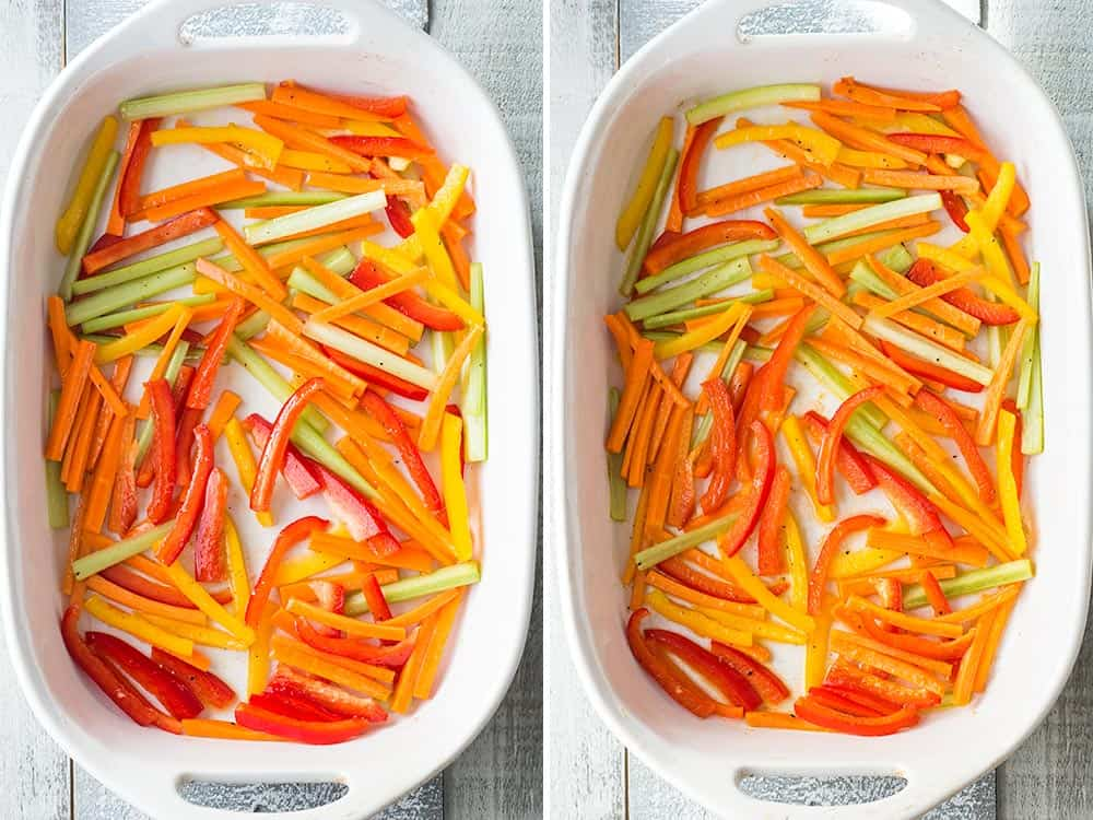 Left: raw celery, carrots and bell peppers cut into strips in a baking dish. Right: same vegetables roasted.