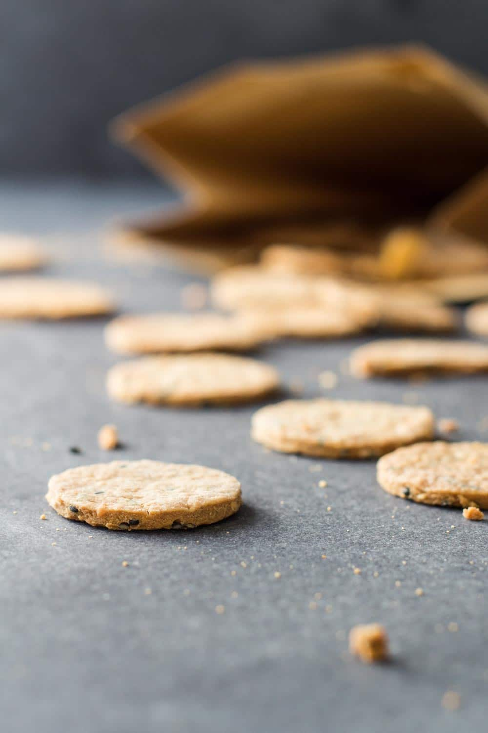 Close up of Homemade Crackers scattered on the counter.