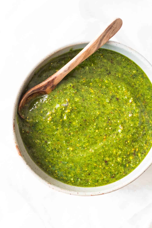 5-Minute Basil Pistachio Pesto