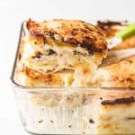 Close up of a piece of finished Artichoke Mushroom Lasagna with Bechamel Sauce.