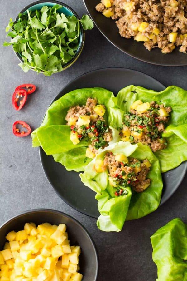 Ground Pork Lettuce Wraps on a black plate