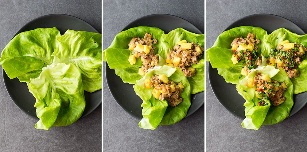 Ground Beef Lettuce Wrap building process