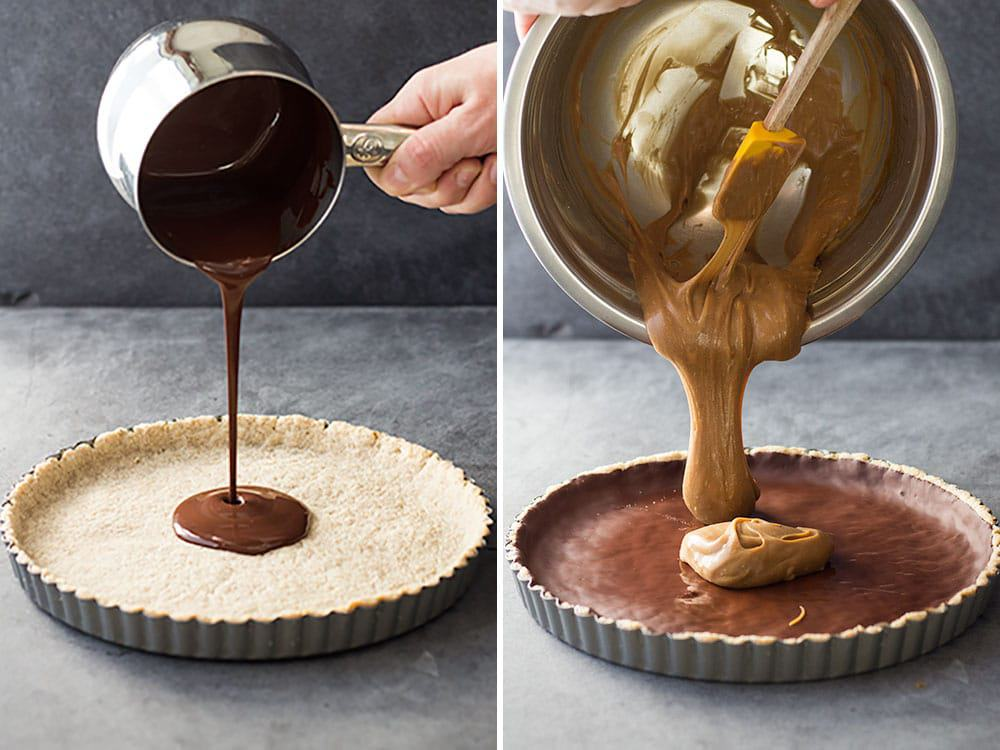 dark chocolate poured into almond crust & vegan caramel sauce poured into almond chocolate crust