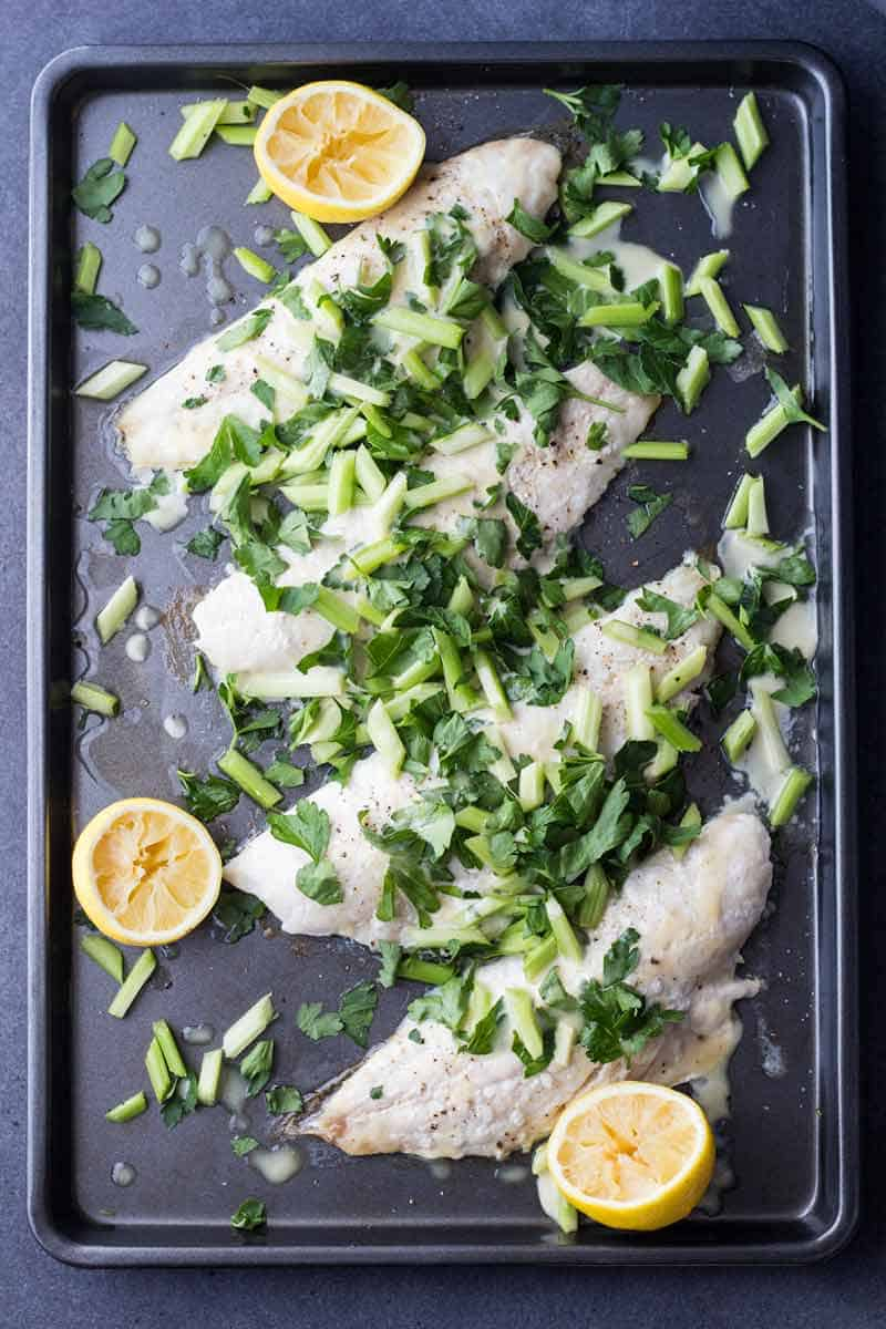 Snapper Fillet With Celery Parsley Salad