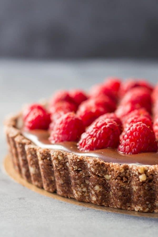 chocolate raspberry tart texture closeup.
