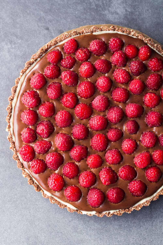 ... Almond Chocolate Raspberry Tart made with a vegan almond crust and