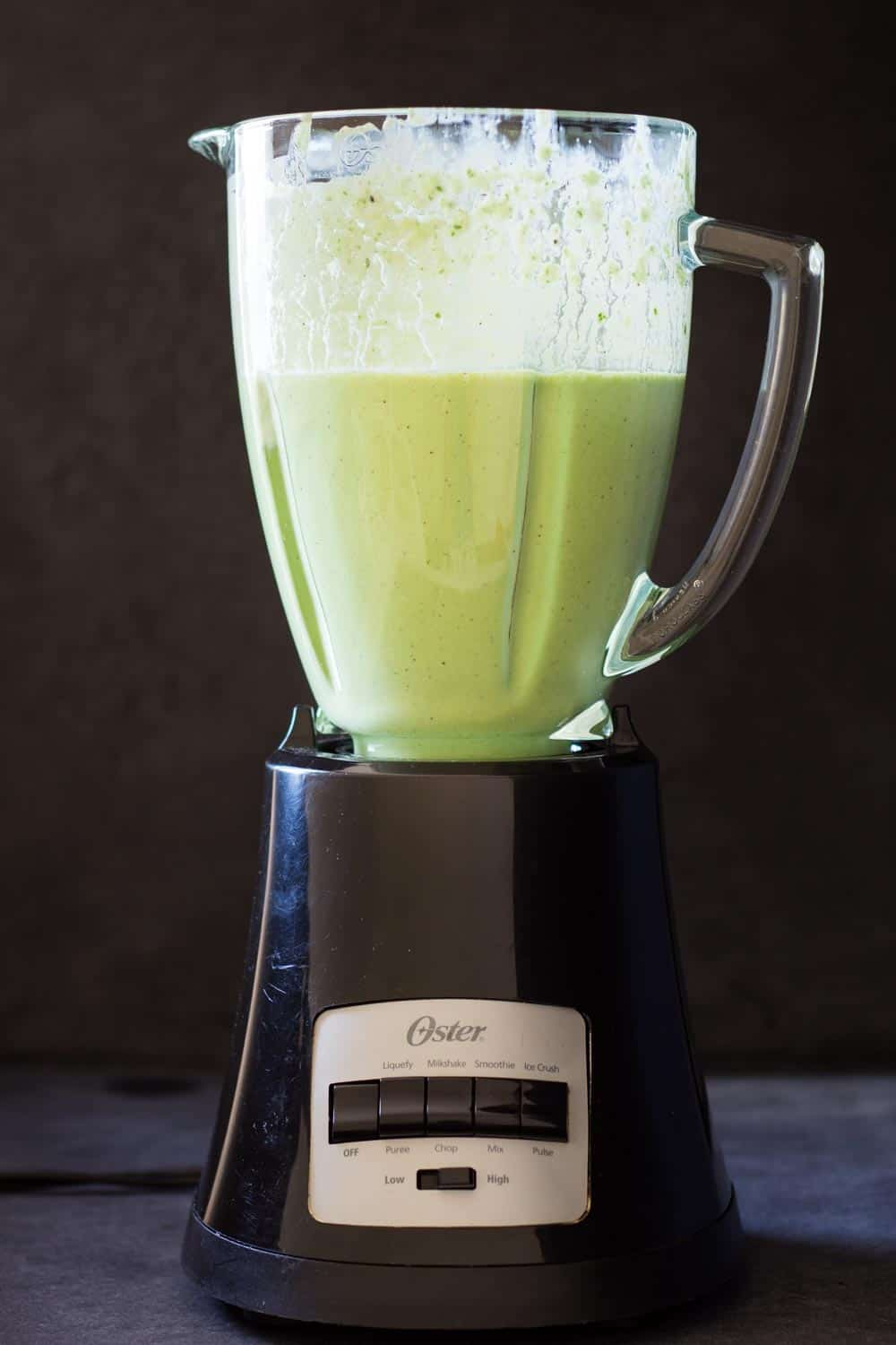 Healthy green smoothie in blender