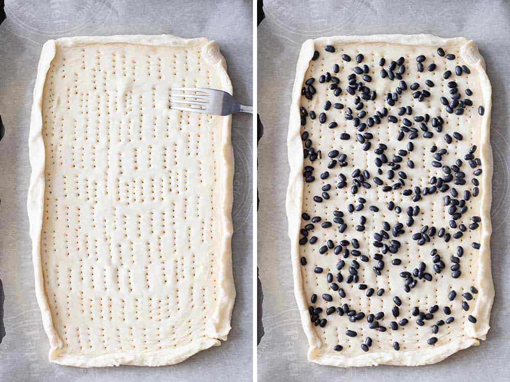 Left: raw pastry puff on parchment paper with holes punched with a fork. Right: same pastry puff with raw beans laid out on top.