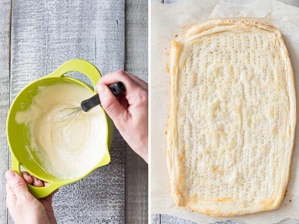 Left: cream cheese mix being mixed in a bowl with a whisker. Right: baked pastry puff on parchment paper.