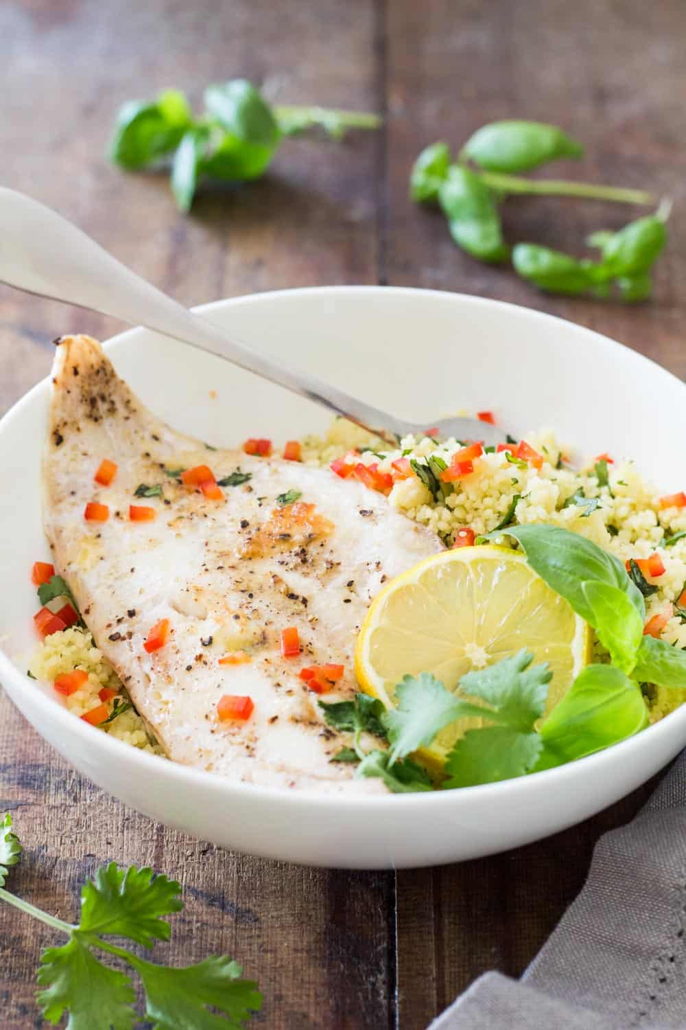 Baked Haddock with Herb Couscous
