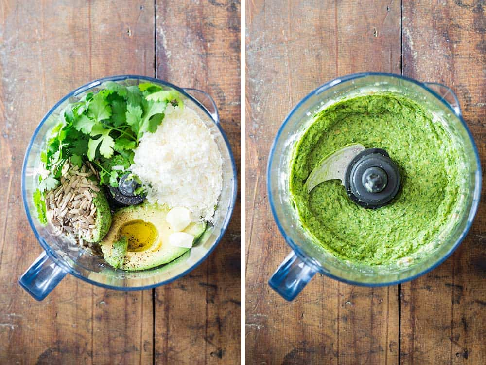 Left: raw ingredients for Cilantro Pesto in a food processor. Right: blended ingredients in the food processor.