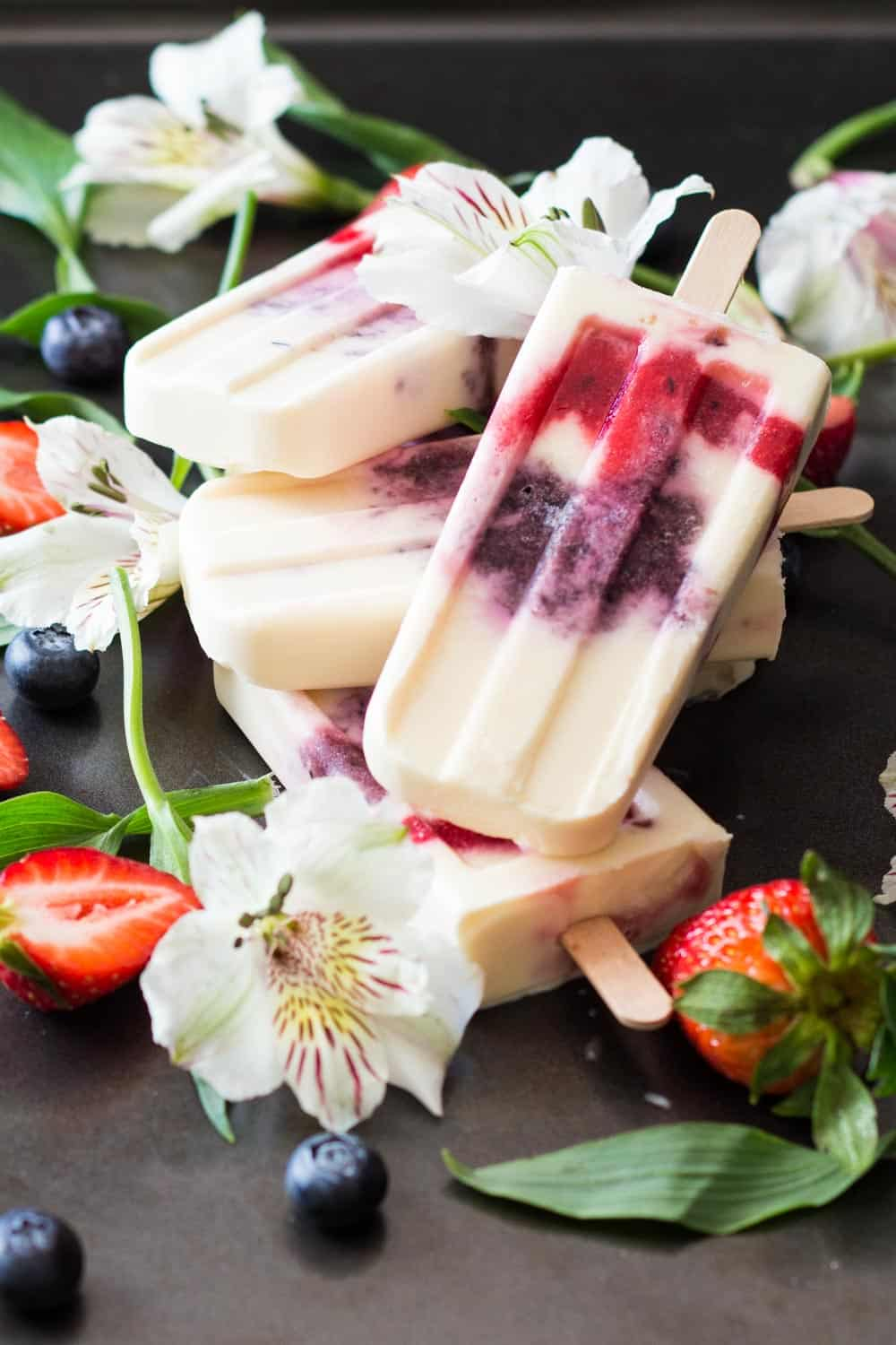 Greek Yogurt Berry Popsicles