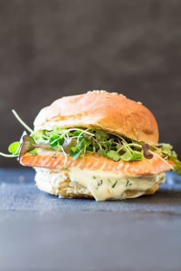 Salmon Burger With Garlic Herb Mayonnaise