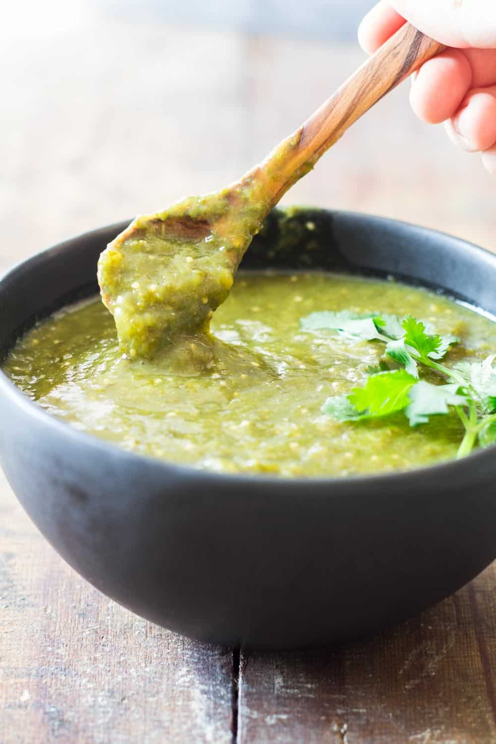 Authentic Salsa Verde in a black bowl