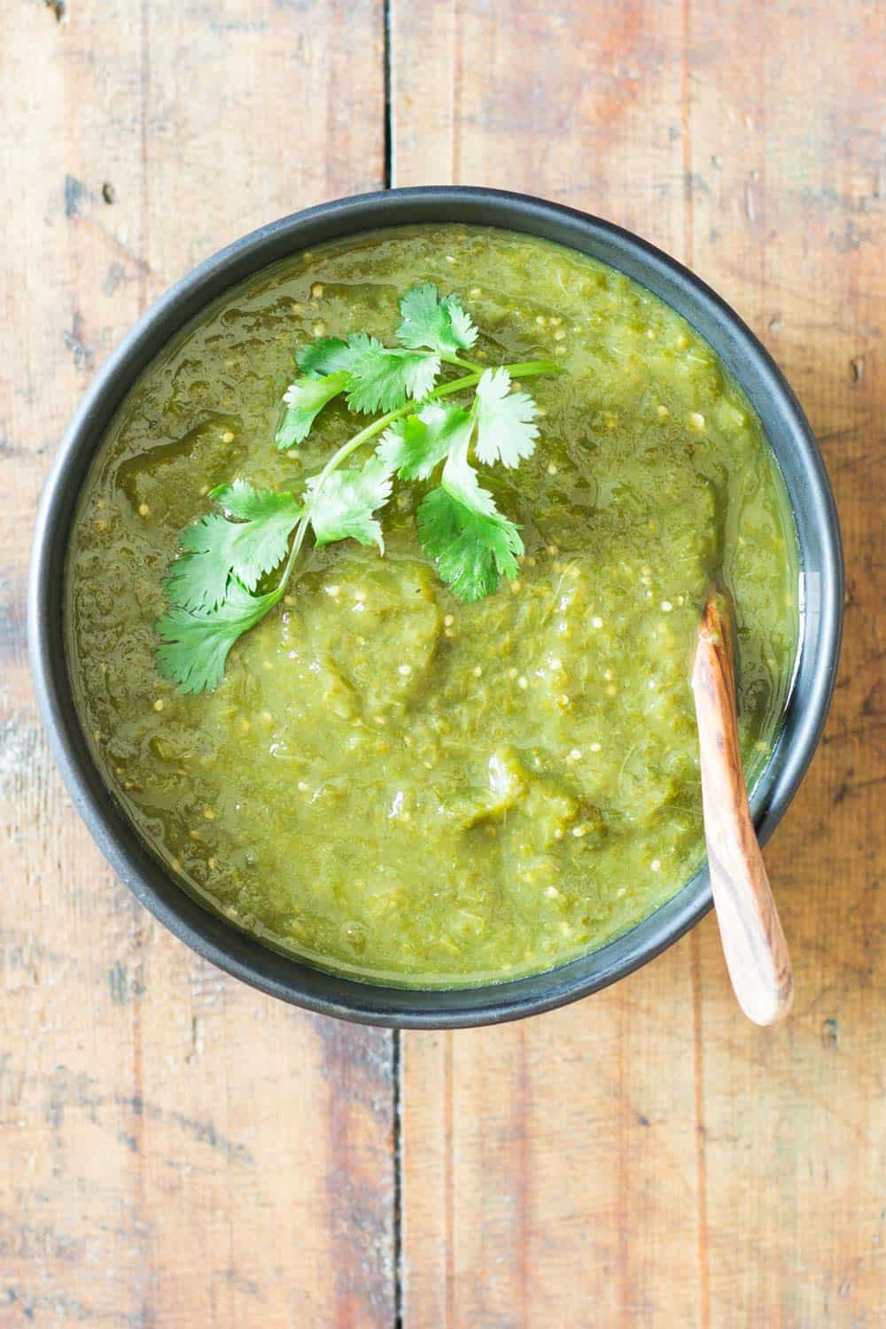 Authentic Mexican Salsa Verde in a black bowl