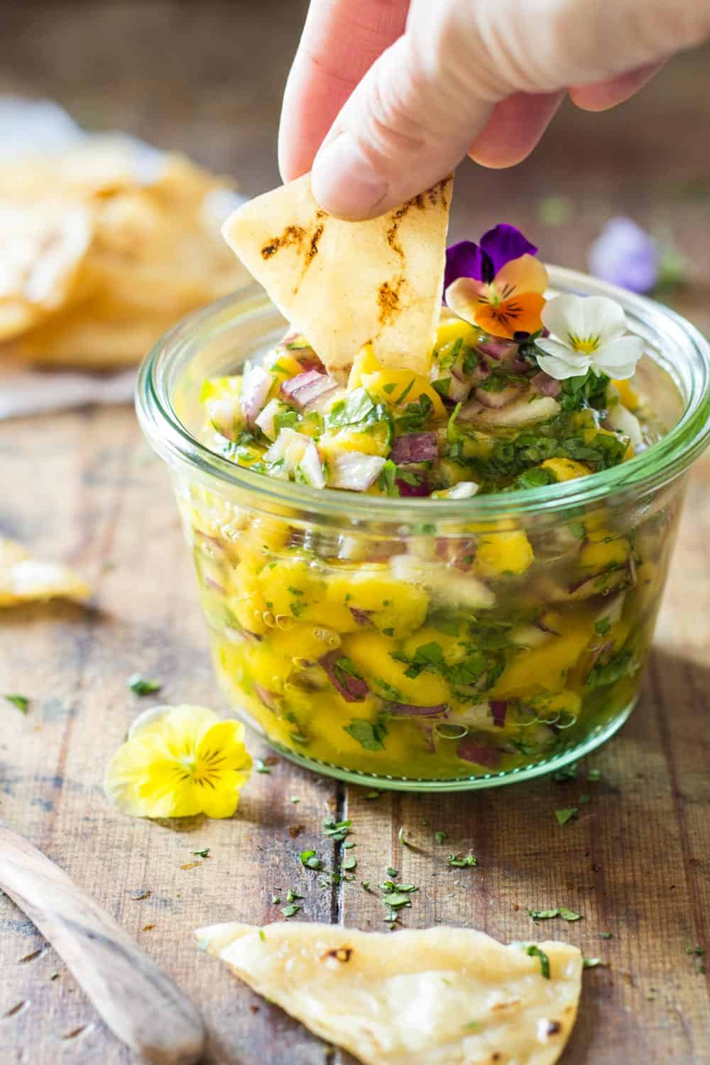 This is not just any Mango Salsa, it is a kid-friendly Mango Salsa that makes the kids eat raw onion. Say what?! It's healthy, sweet, and delicious, too!