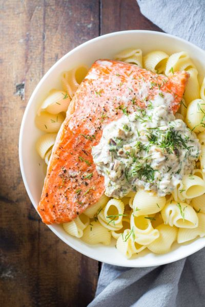 A Sockeye Salmon Pasta with an out of this world Shiitake mushroom sauce. An elegant and insanely delicious dish prepared in under 30 minutes.