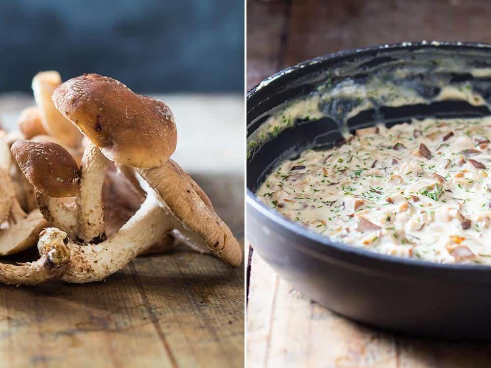 Left: Shiitake mushrooms. Right: Shiitake mushroom sauce in a black bowl.